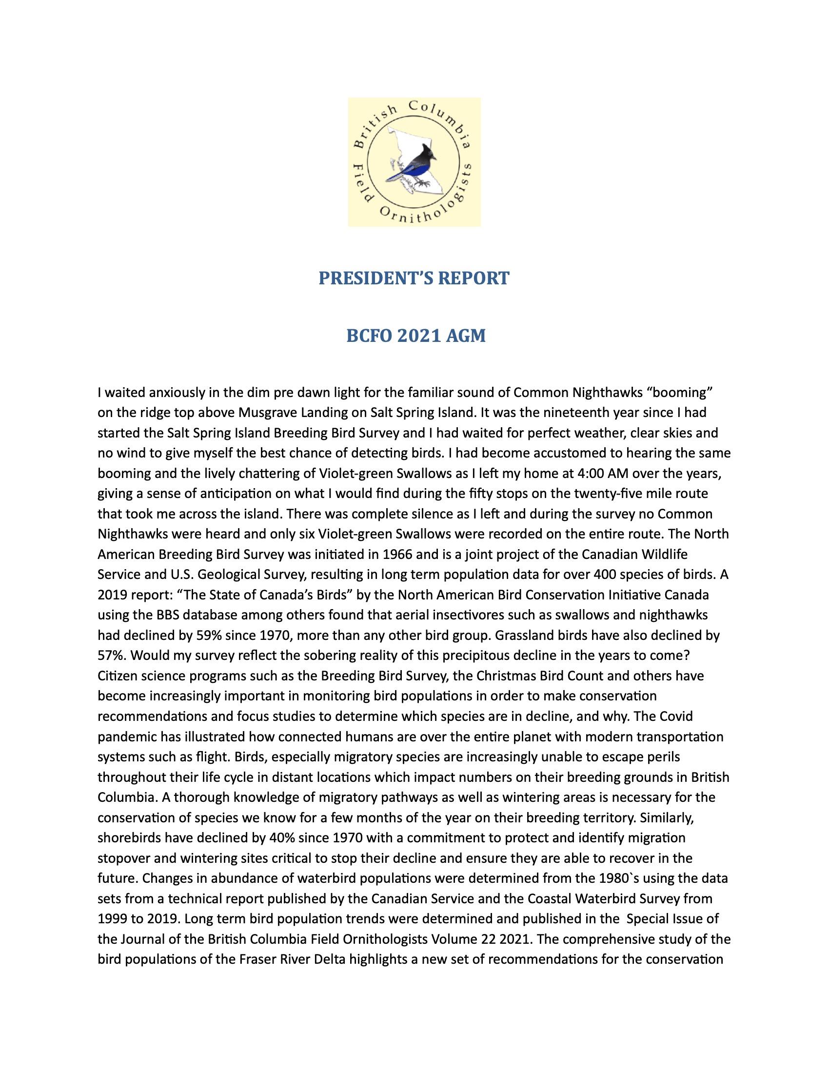 President's Report BCFO 2021 AGM-F -1